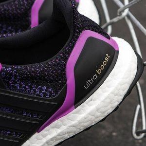 adidas Shoes - Adidas Ultra Boost Black & Shock Purple Sneakers